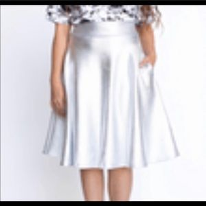 NWT Brilliant Silver Pleather Midi Skirt